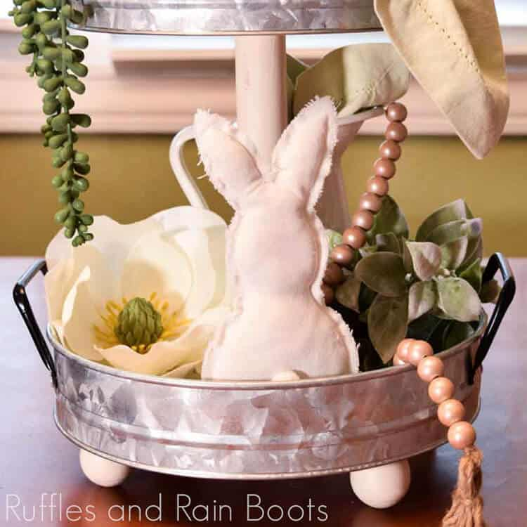 Close up of farmhouse tiered tray styled for Easter