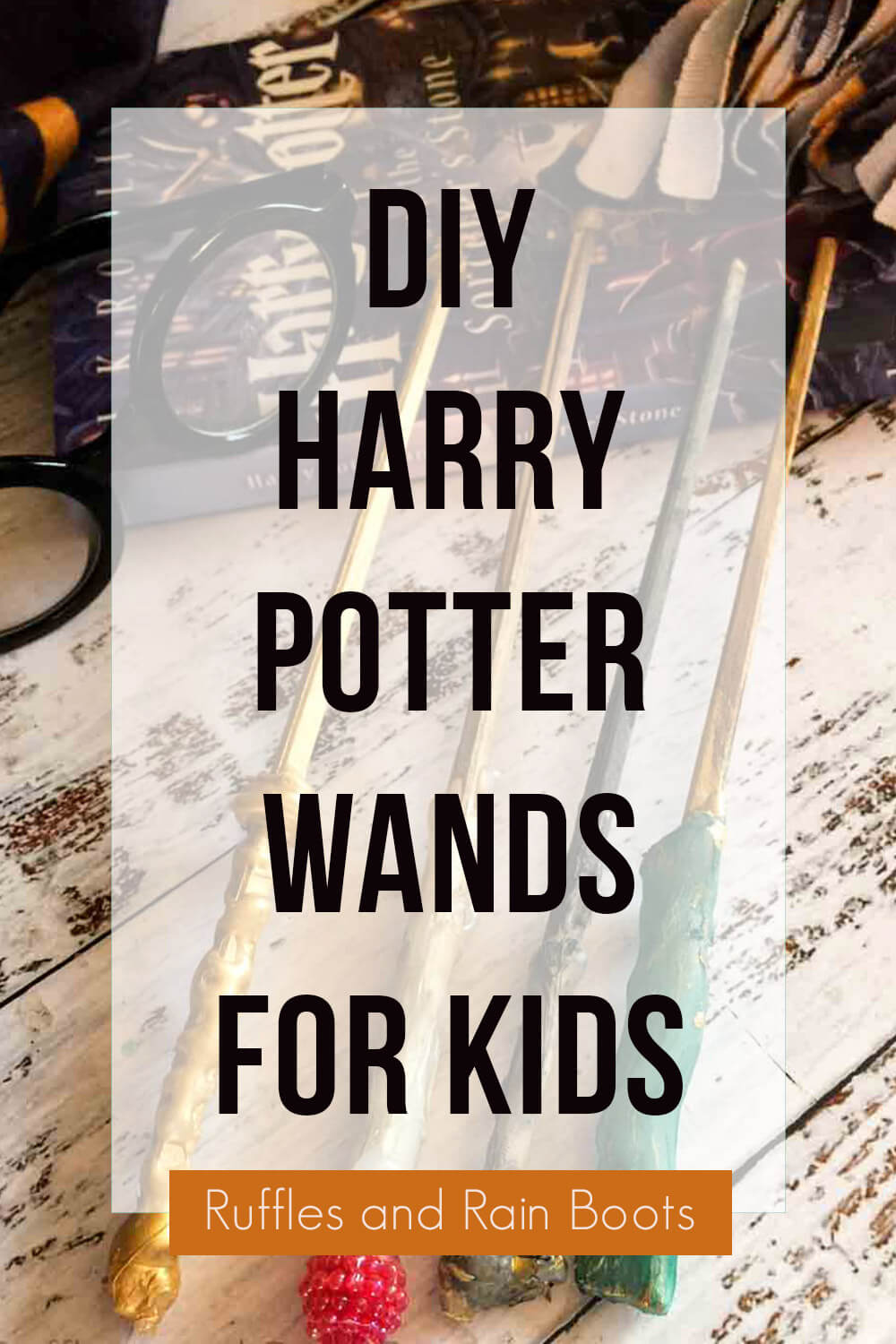 text overlay which reads diy harry potter wands for kids