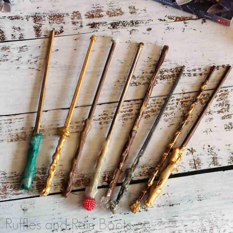 harry potter wands on a white background