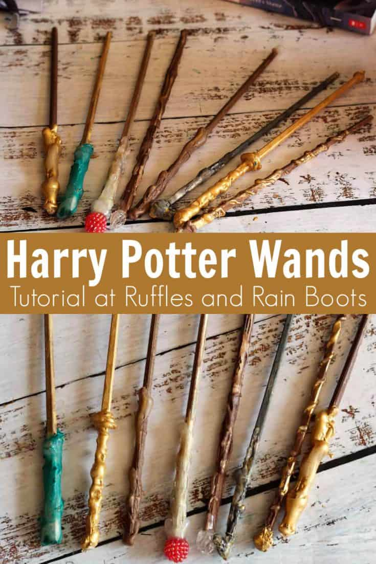 These DIY Harry Potter wands are so easy! My kids are going to love learning how to make a wand. Click here to see her easy DIY wand tutorial!  #harrypottercrafts #harrypotterparty  #harrypotter #rufflesandrainboots