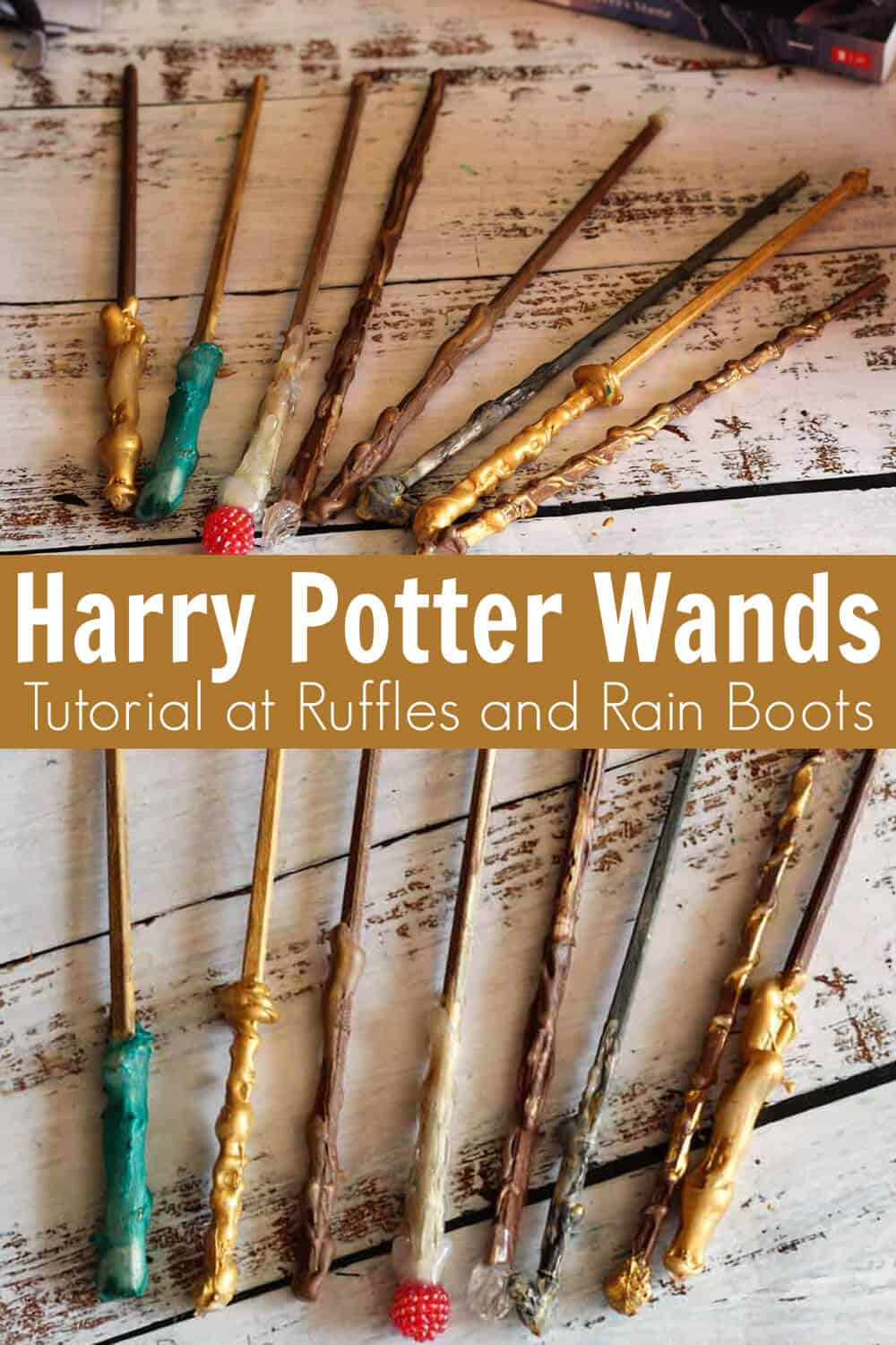 photo collage of how to make easy harry potter wands with text which reads harry potter wands