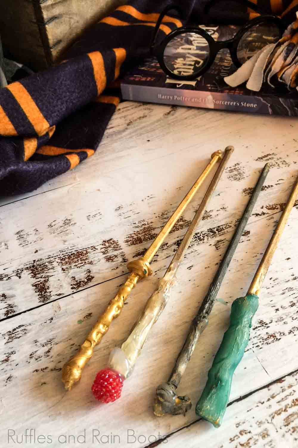 learn how to make wands for harry potter - several variations of harry potter wands on a white background