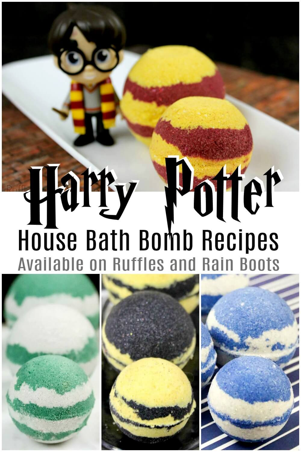 harry potter bath bombs gift idea photo collage with thext which reads harry potter house bath bomb recipes