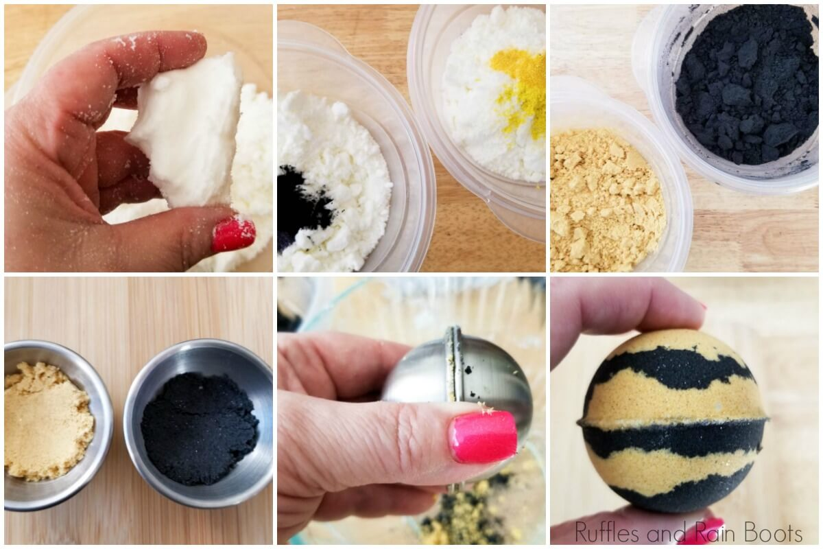 photo collage tutorial of how to make shower bombs hufflepuff