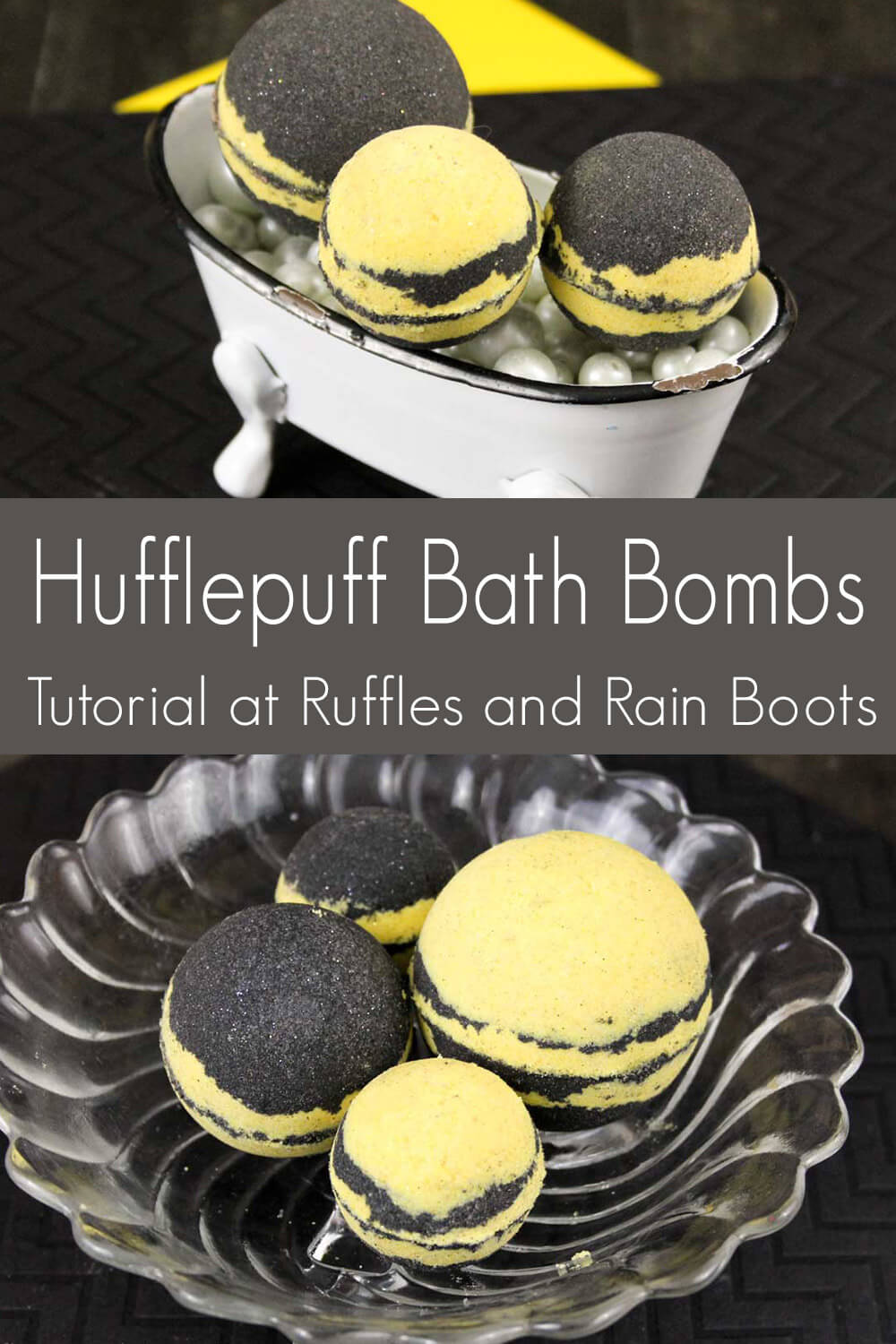 hufflepuff shower bombs gift idea photo collage with text which reads hufflepuff bath bombs