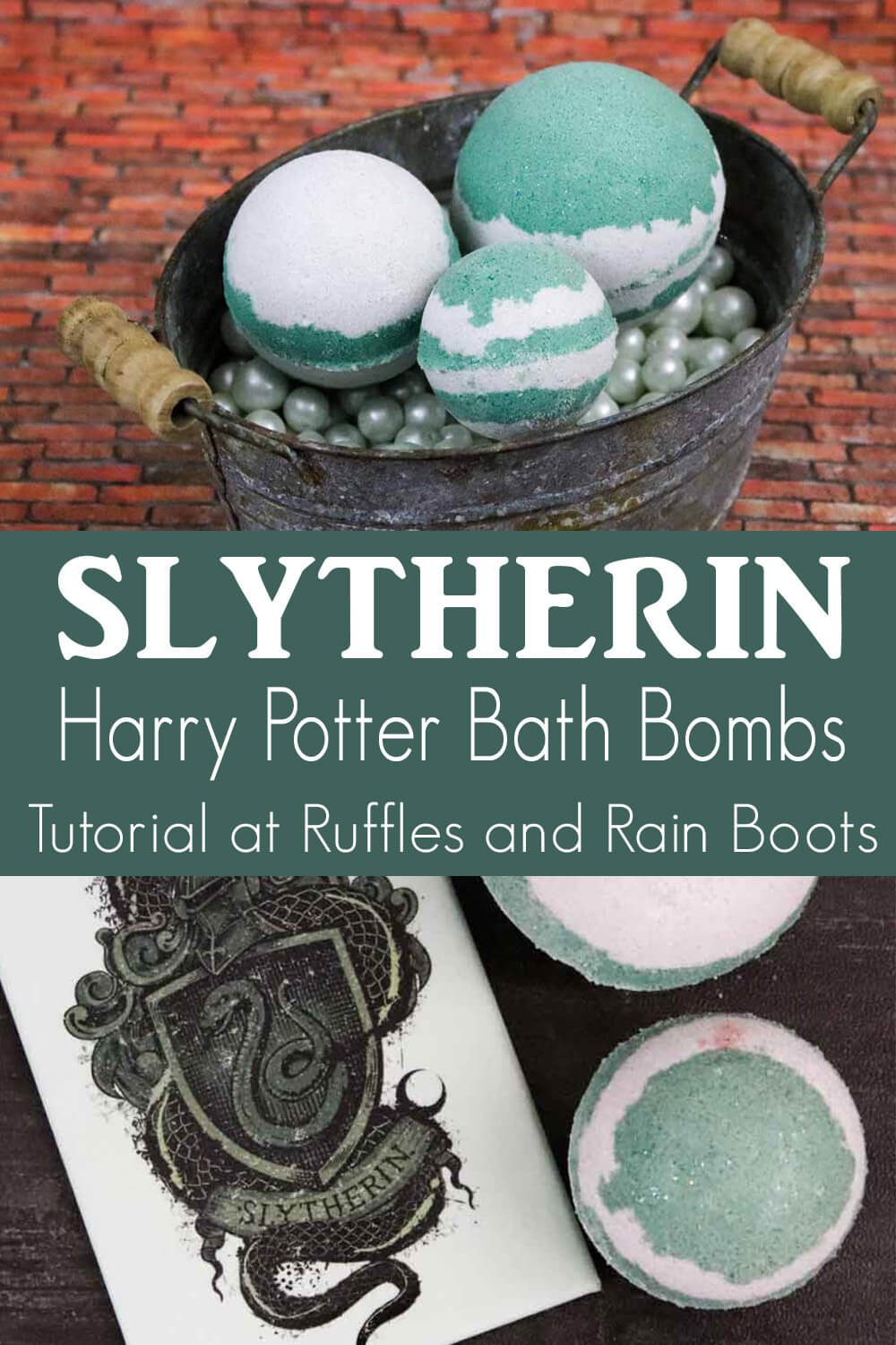 photo collage of easy harry potter slytherin bath bomb recipe with text which reads slytherin harry potter bath bombs