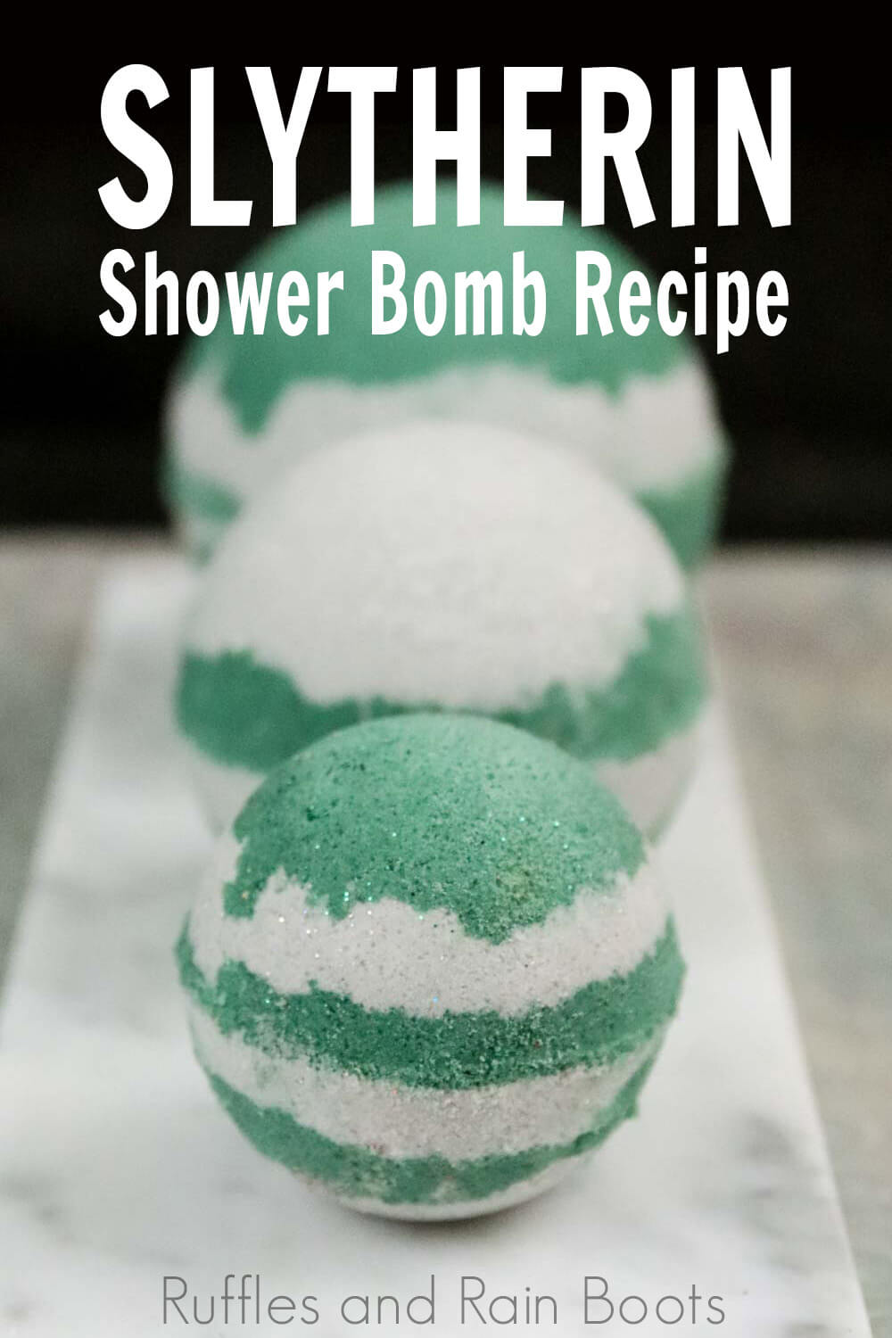 harry potter slytherin bath bombs on a black background