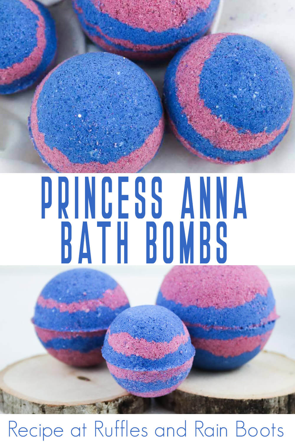photo collage of bath bombs for kids princess anna frozen with text which reads princess anna bath bombs