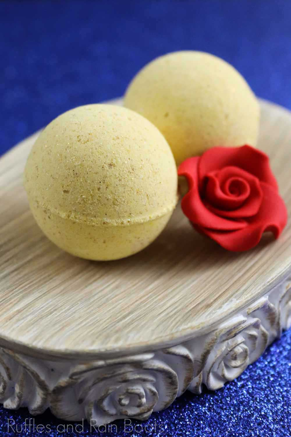 belloe shower bombs recipe disney gift idea on a silver plate on a blue background