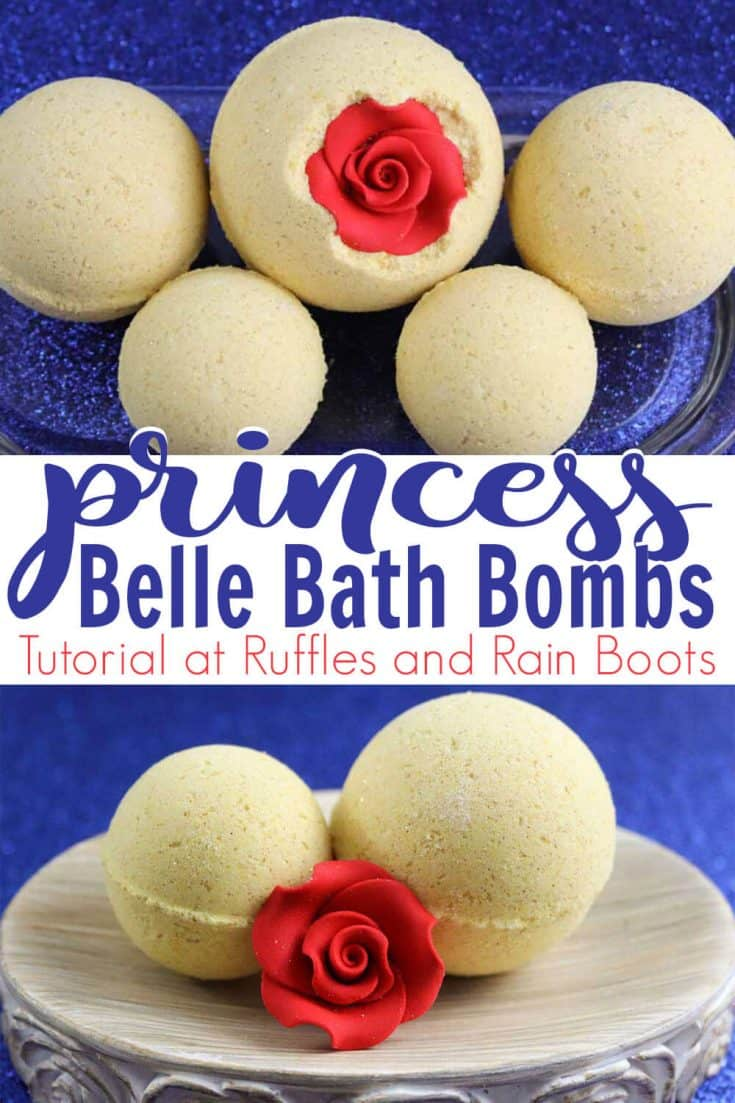 Wow! These Princess Belle Bath Bombs are stunning. I need to make my own Disney bath bombs immediately. Click here to see how fast she makes these Beauty and the Beast DIY ideas. #princessbellebathbomb #bellebathbomb #disneybathbomb #princessbathbomb #beautyandthebeastdiy #rufflesandrainboots