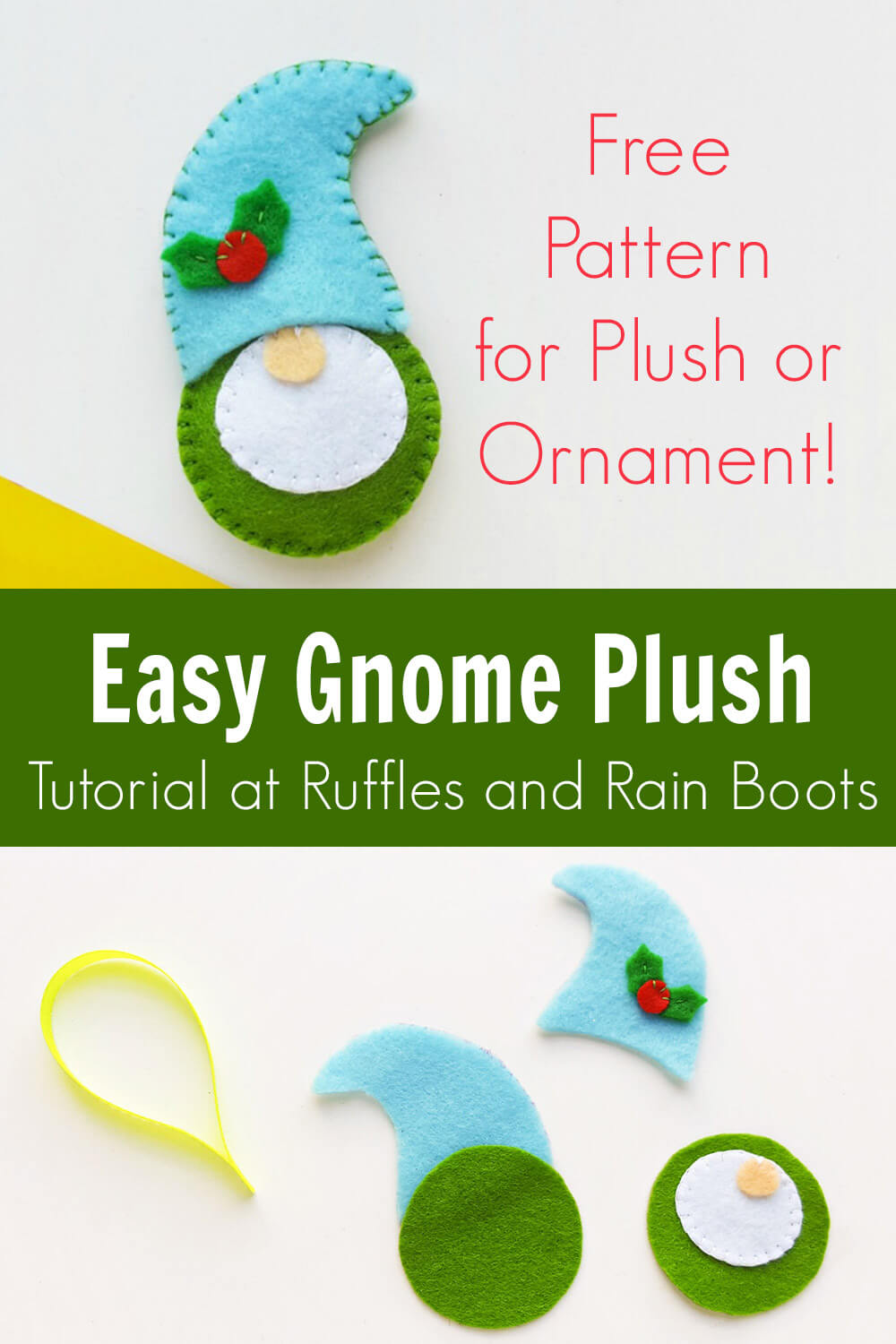 photo collage of free pattern gnome plush ornament felt tutorial with text which reads easy gnome plush