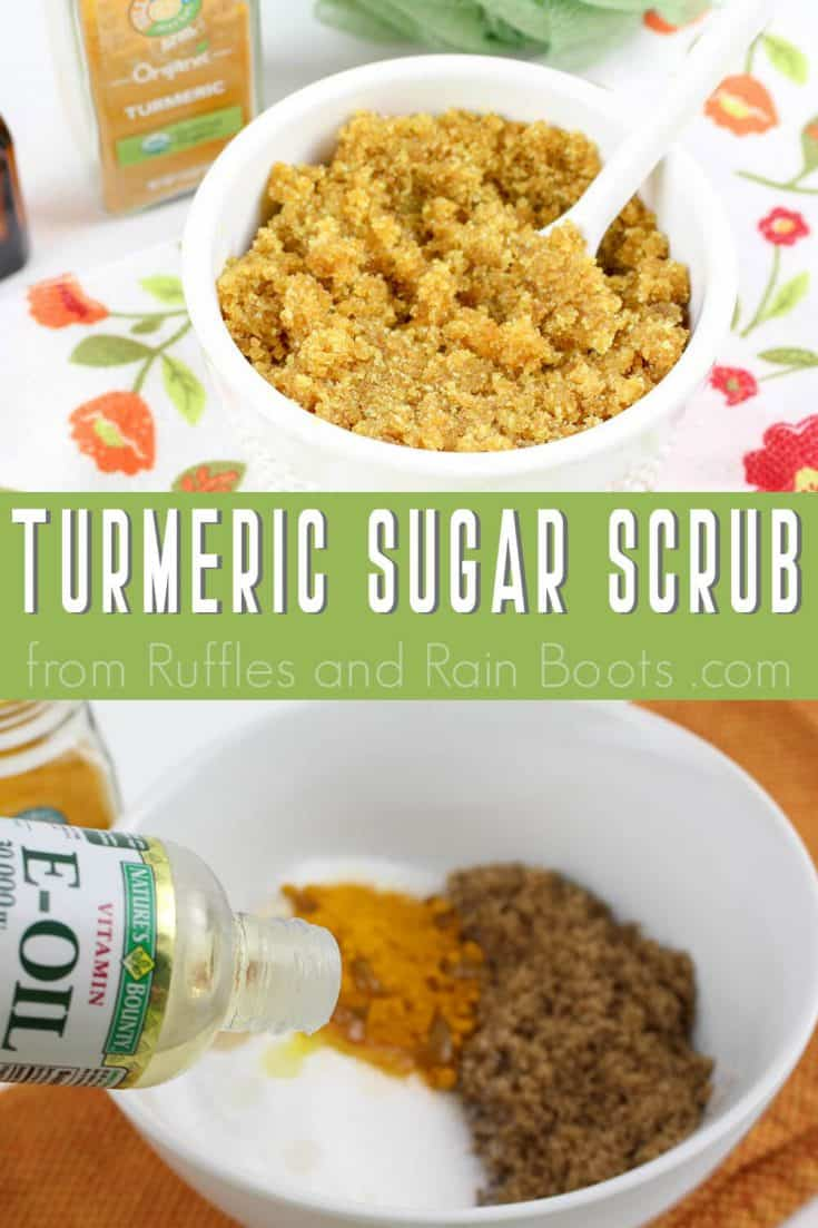 This simple turmeric sugar scrub would be perfect for my feet when they're all sorts of sore! Click here to see how she makes this easy turmeric scrub in minutes! #footscrub #sugarscrub #turmericsugarscrub #turmericscrub #turmericfootscrub #rufflesandrainboots