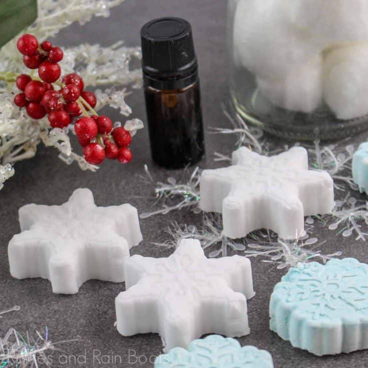 snowflake shower bombs recipe on a grey background