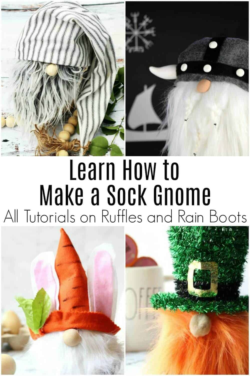 collage of sock gnomes with text which reads learn how to make a sock gnome
