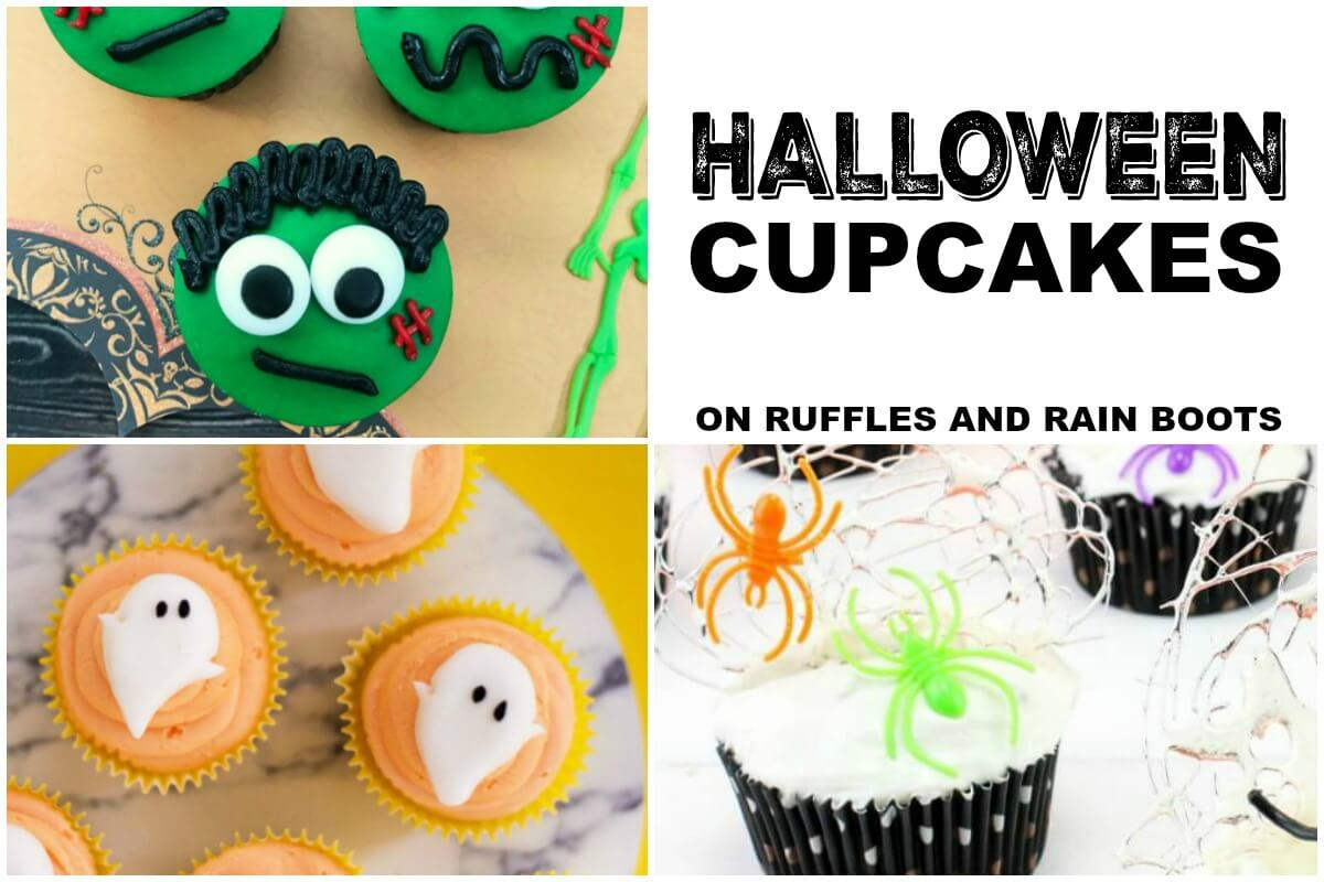 photo collage of Halloween cupcakes on Ruffles and Rain Boots
