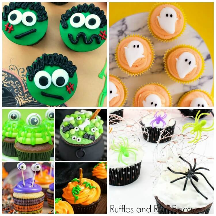 photo collage of Halloween cupcakes