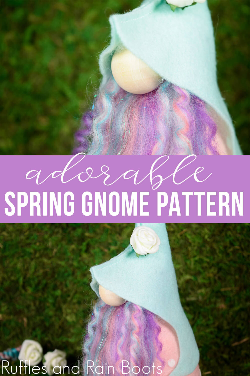 photo collage of elfin gnome pattern with text which reads adorable spring gnome pattern