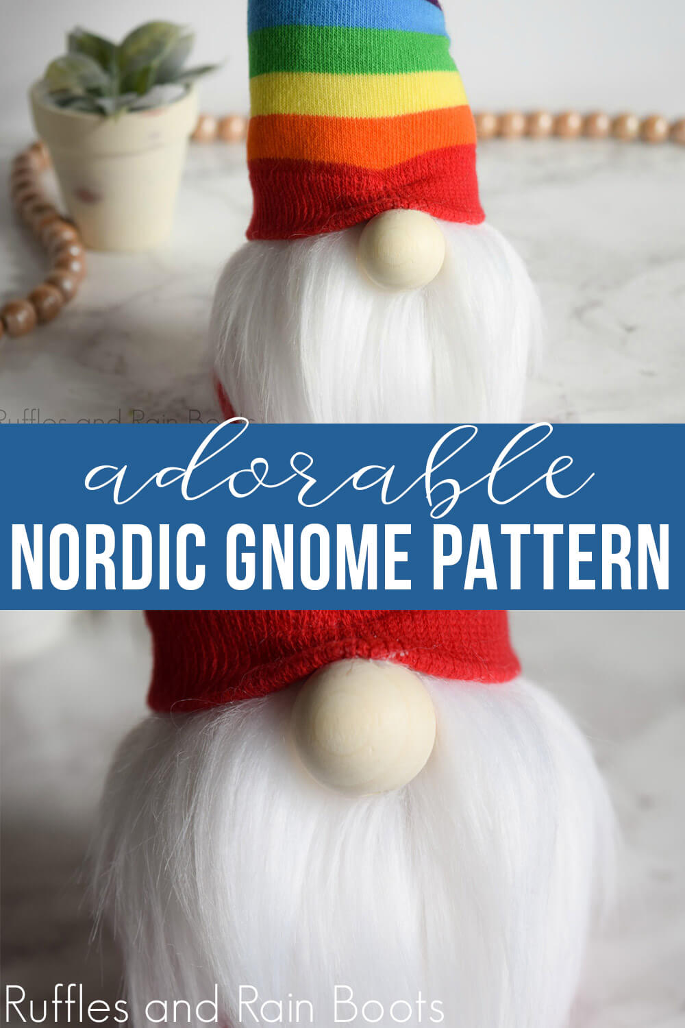 photo collage of Nordic gnome with a twisty hat with text which reads adorable Nordic gnome pattern
