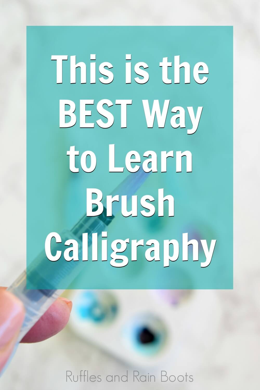 close up of water brush with text which reads this is the best way to learn brush calligraphy