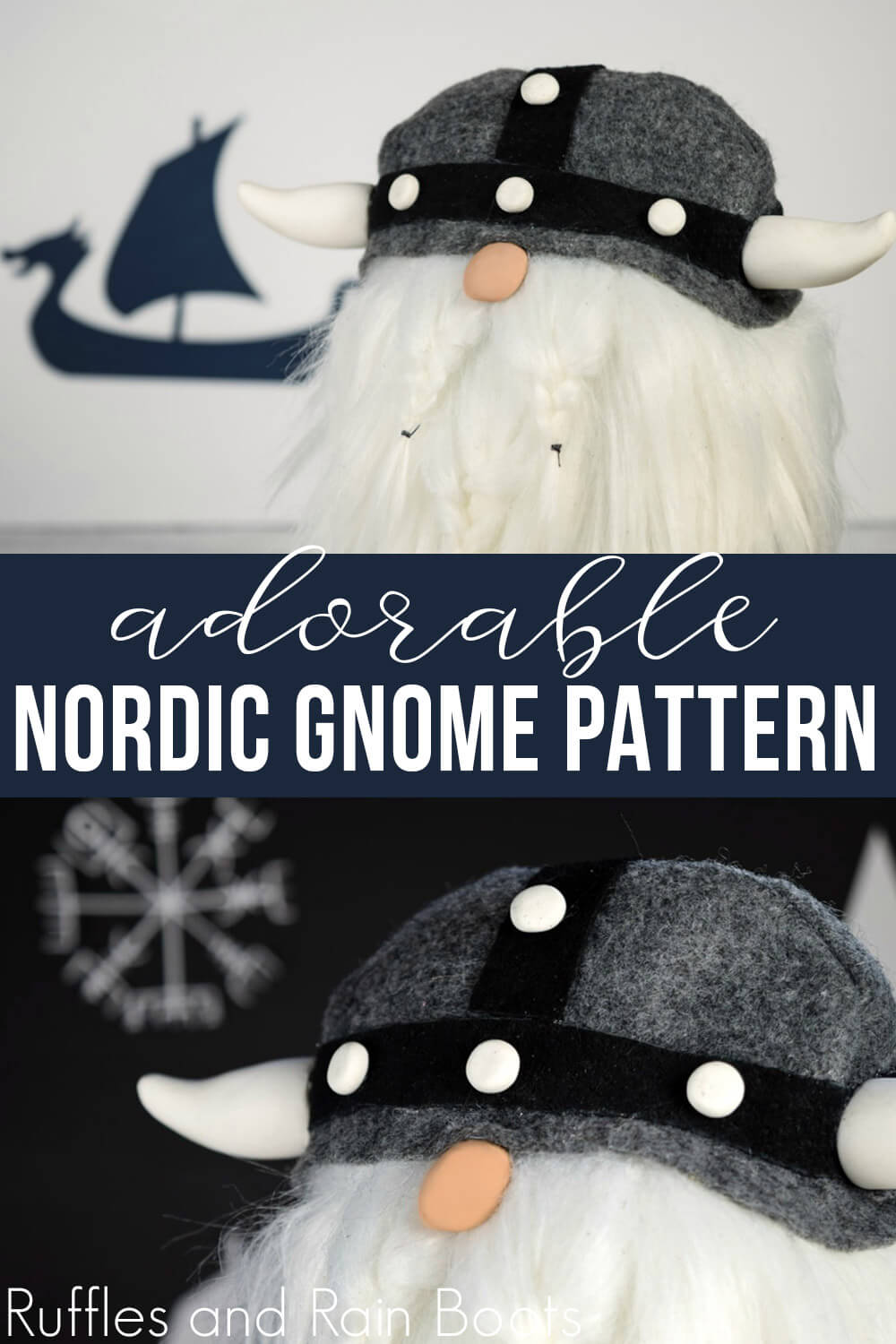 photo collage of Viking gnome with text which reads adorable nordic gnome pattern