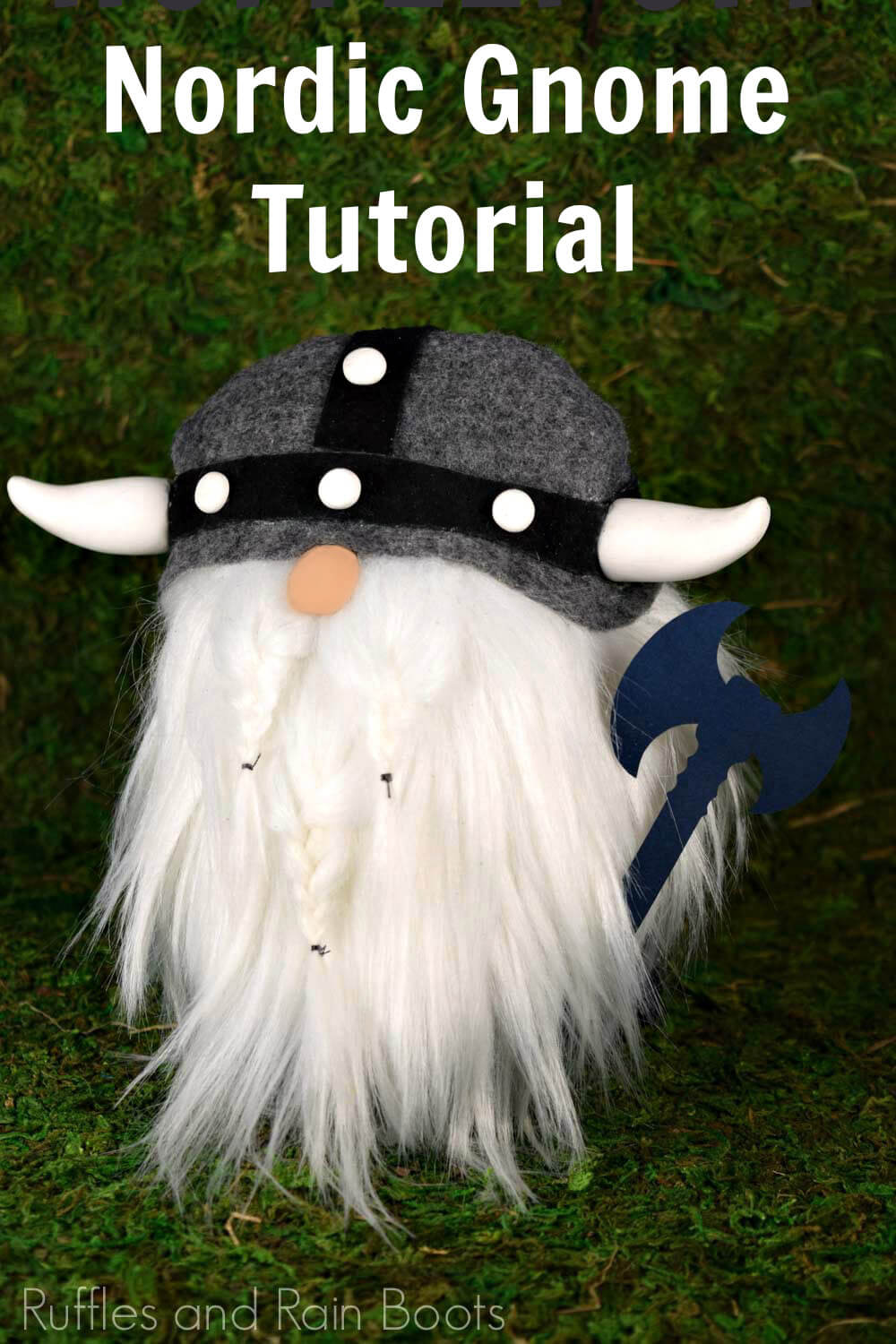 Viking gnome on green moss background with text which reads Nordic Gnome Tutorial