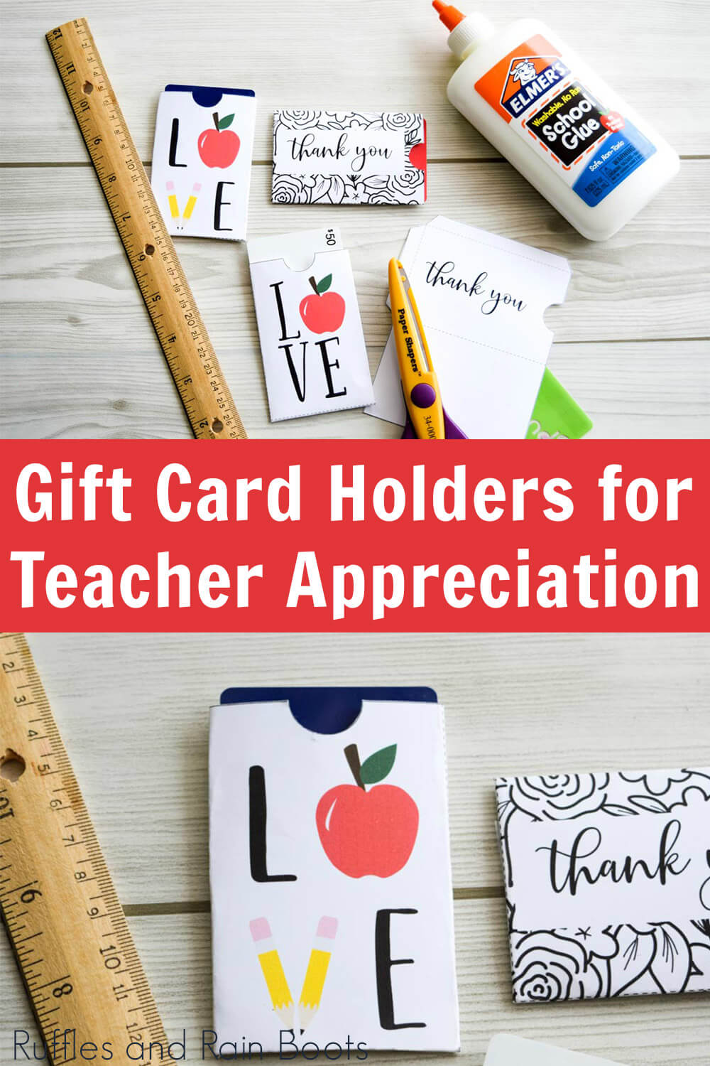 photo collage of gift card holder for teacher appreciation week on wood background