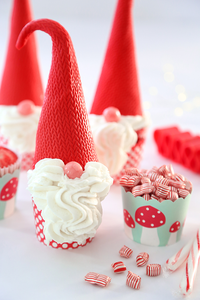 Peppermint Christmas Gnome Cupcakes