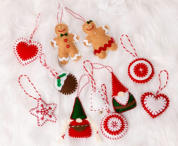Easy Felt Christmas Ornaments, Nordic Style Ornaments, Gnomes