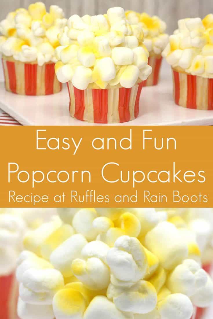 I am SO IMPRESSED by this cute cupcake decorating idea for popcorn cupcakes! They're so simple and a perfect circus cupcake idea. Click here to see how she decorates these unique cupcakes in minutes! #circuscupcakes #dumboparty #popcorncupcakes #rufflesandrainboots