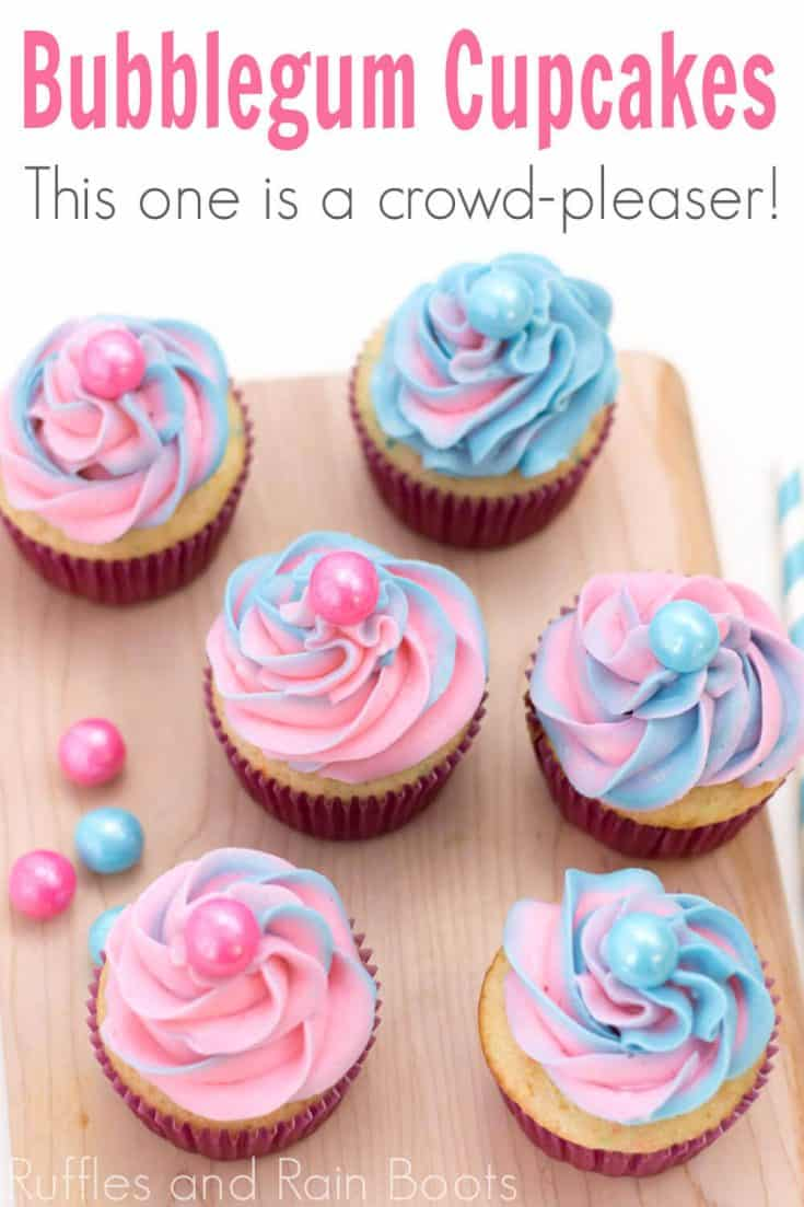 This is the most colorful cupcake recipe idea ever! These bubblegum cupcakes are so pretty--I can't wait to make some. Click here to see how she makes this easy cupcake idea so fast! #easycupcakeidea #babyshowercupcakes #genderrevealcupcakes #rufflesandrainboots