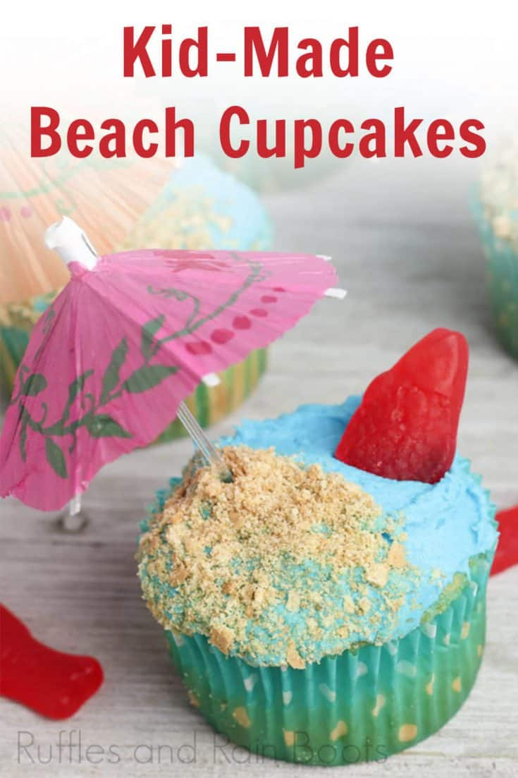 I have to make these cute beach cupcakes for my kiddo's party! They're such an easy to make cupcake idea. You can click here to see how she makes this fun party cupcake so simply! #cupcakes #partycupcake #oceancupcakes #luau #rufflesandrainboots