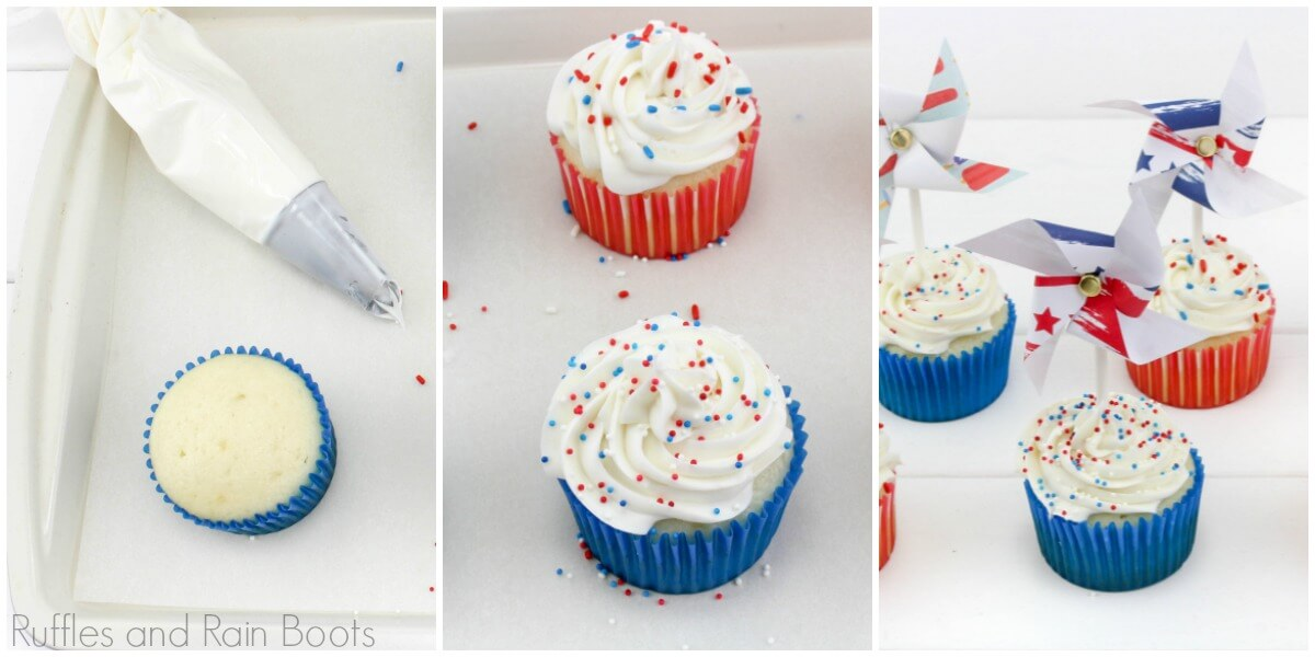 photo tutorial of how to make patriotic cupcakes for 4th of July