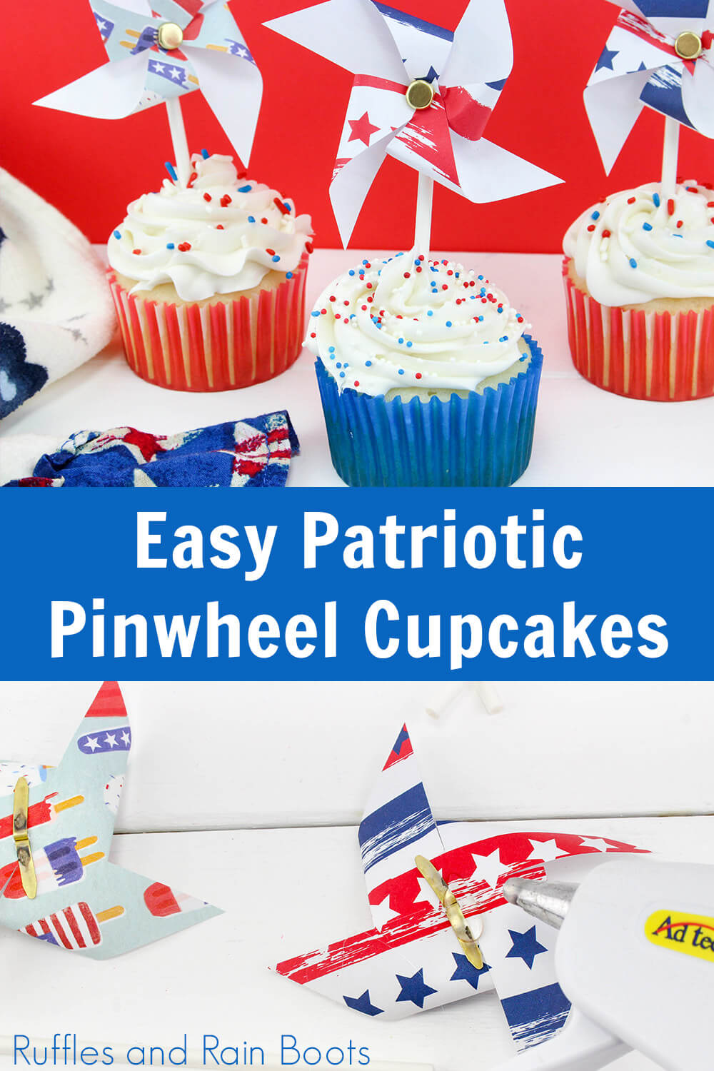 photo collage of cupcakes with pinwheels on top with text which reads easy patriotic pinwheel cupcakes