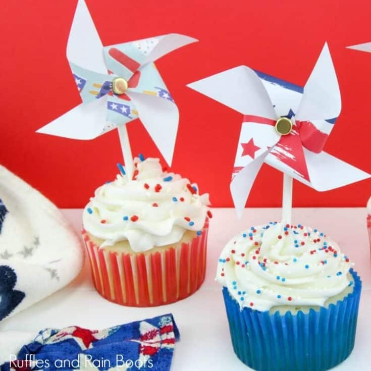 These red, white, and blue patriotic pinwheel cupcakes will delight everyone at your 4th of July get together. Celebrate Independence Day with these fun treats.