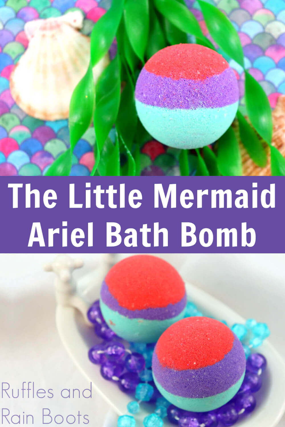 photo collage of mermaid imagery with text which reads the little mermaid Ariel bath bombs