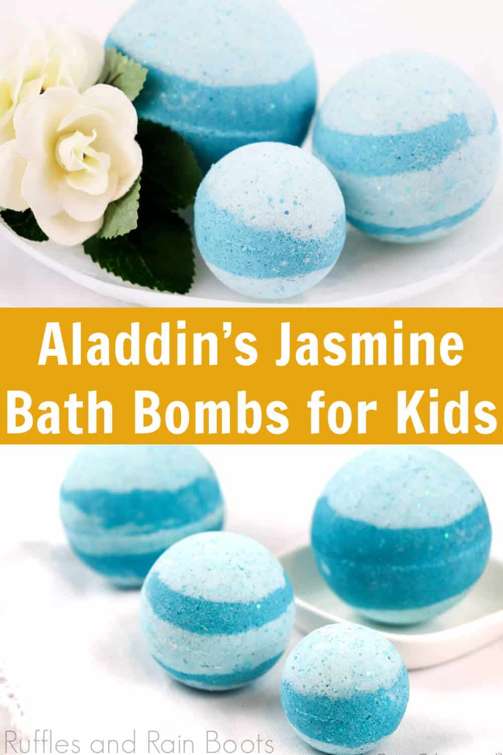 photo collage of teal bath fizzies on white background with text which reads Aladdins Jasmine Inspired Bath bombs for kids