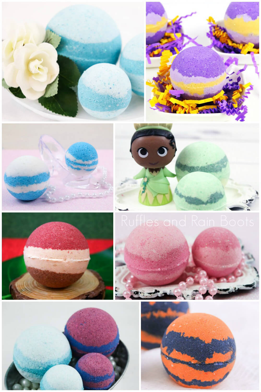 photo collage of bath bombs made for each of the Disney Princesses