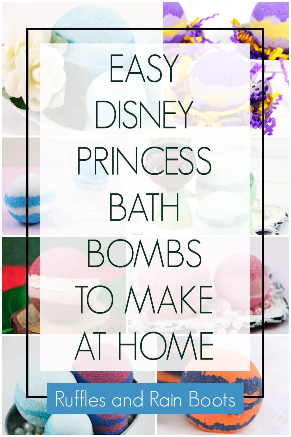 photo collage of bath fizzies with text which reads Easy Disney Princess bath bombs to make at home