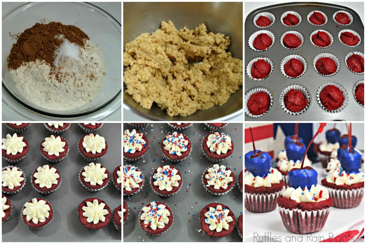 photo tutorial of how to make firework cupcakes for a 4th of july independence party