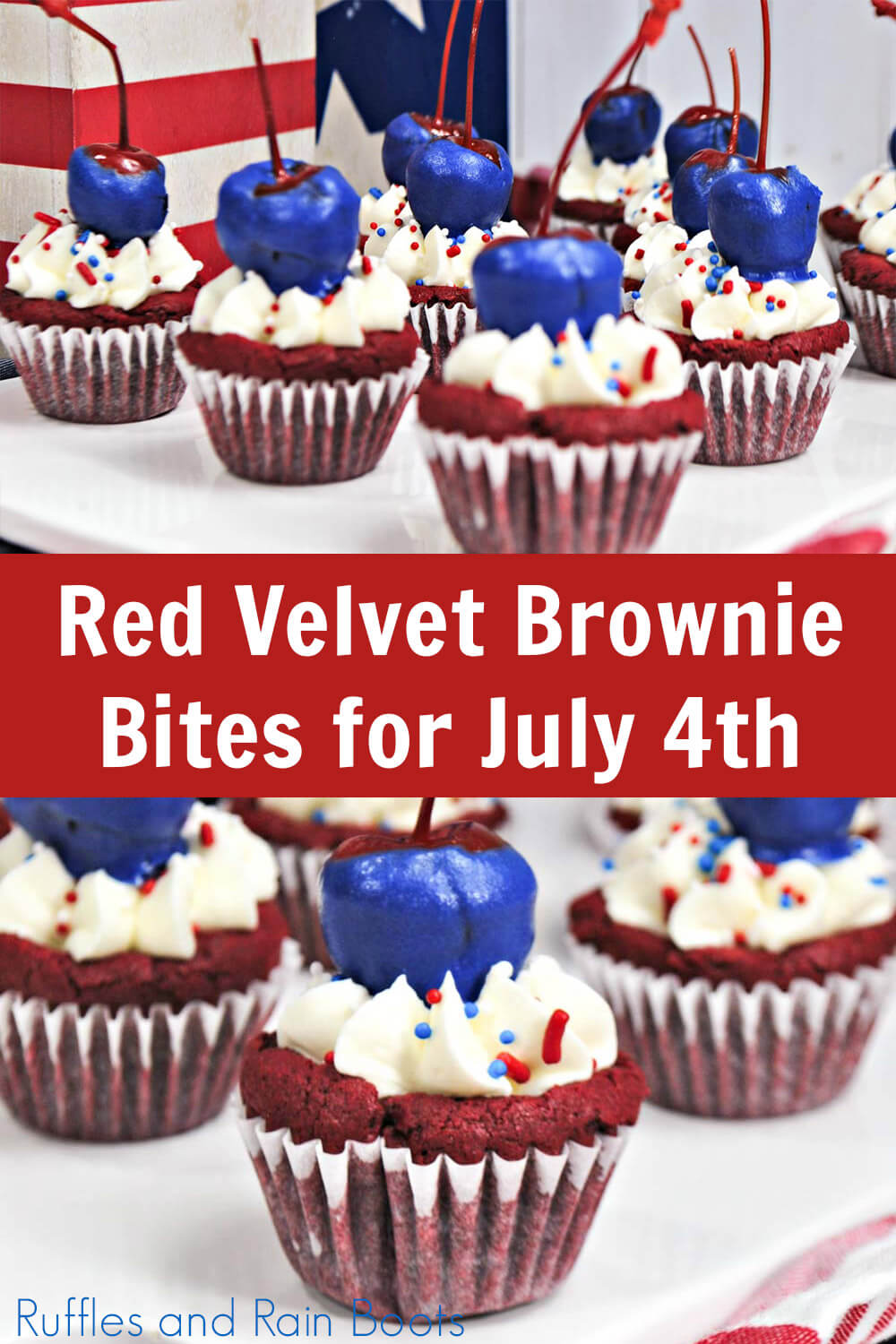 photo collage of red velvet brownie bites for july 4th