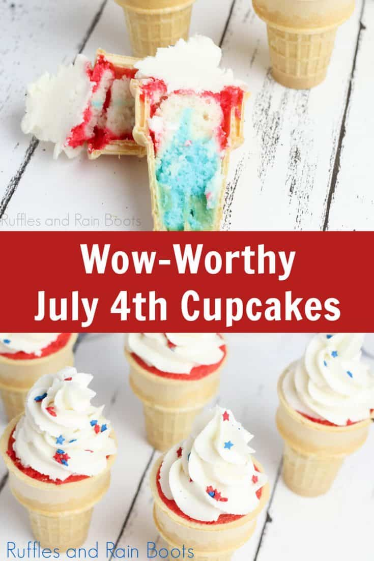 These adorable patriotic ice cream cone cupcakes make a dessert table the center of attention! Click to whip up a batch for your Independence Day party. #cupcakeideas #4thofjulyfood #independenceday