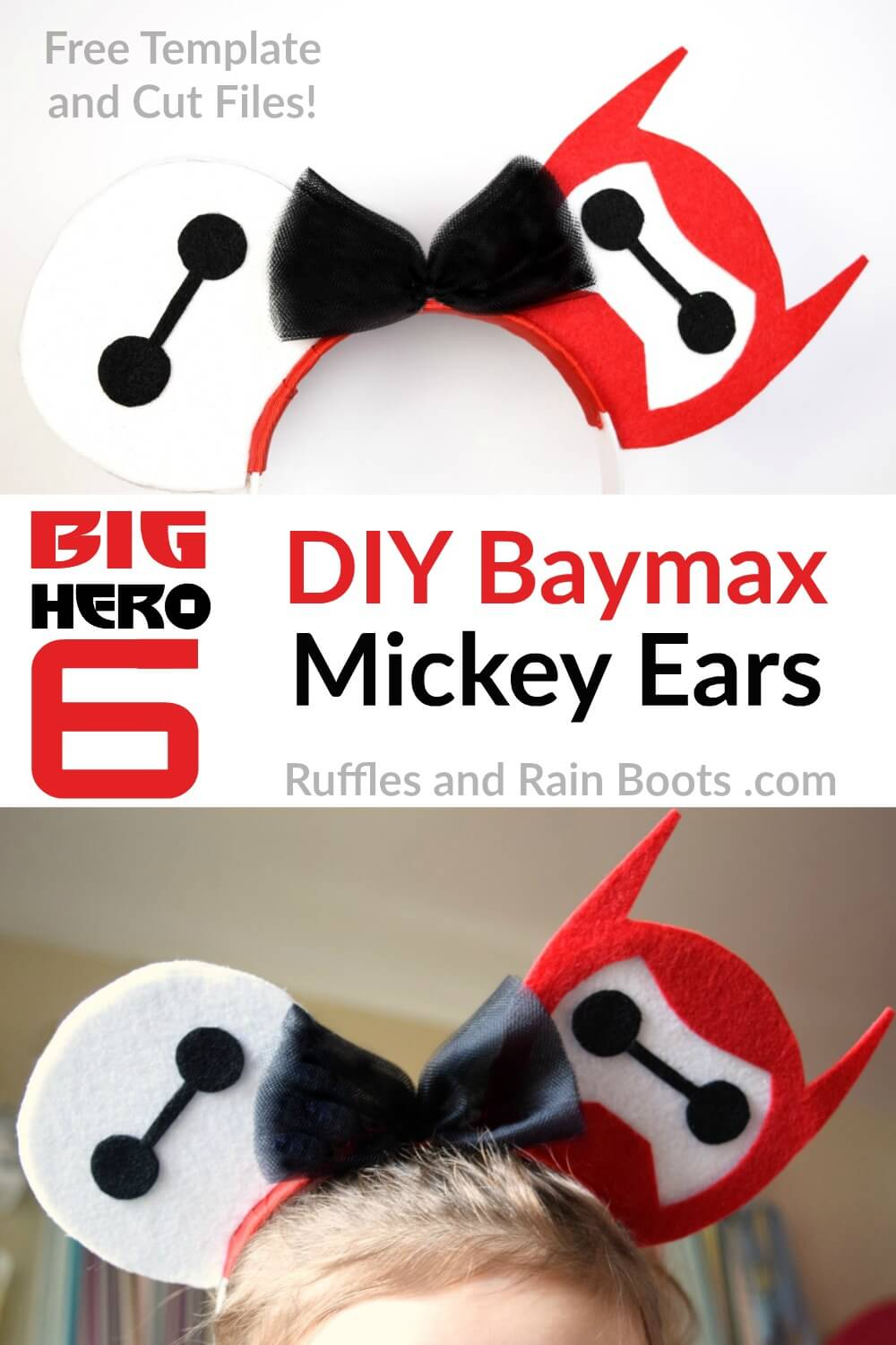 photo collage of child wearing Big Hero 6 mouse ears with text which reads DIY Baymax Mickey ears