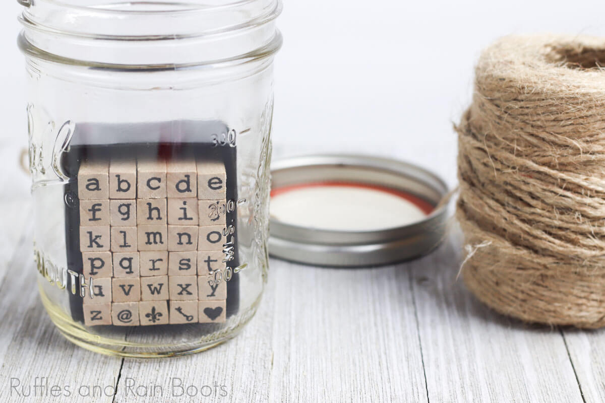 placing stamps to date night jar