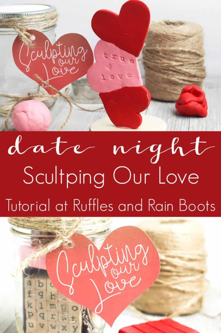 I am so excited about this sculpture date night in a jar idea! My husband is going to love it, too. Click here to see how to make easy date night ideas quick. #datenightideas #sculptingdatenight #datenightinajar #rufflesandrainboots