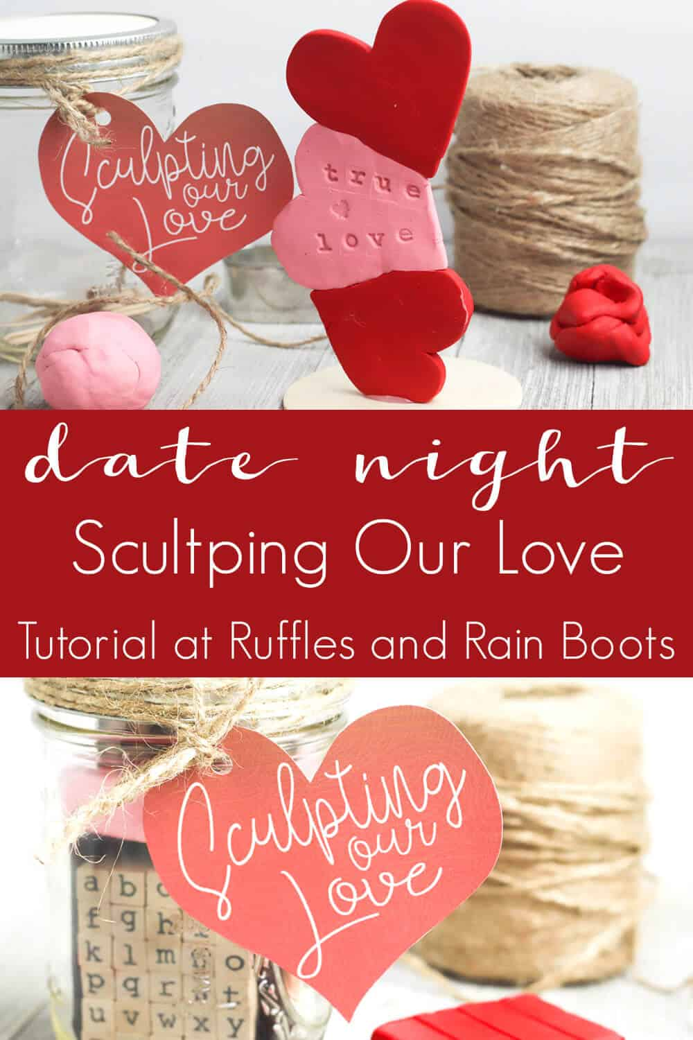 photo collage of date night ideas for couple gift jar with text which reads date night sculpting our love