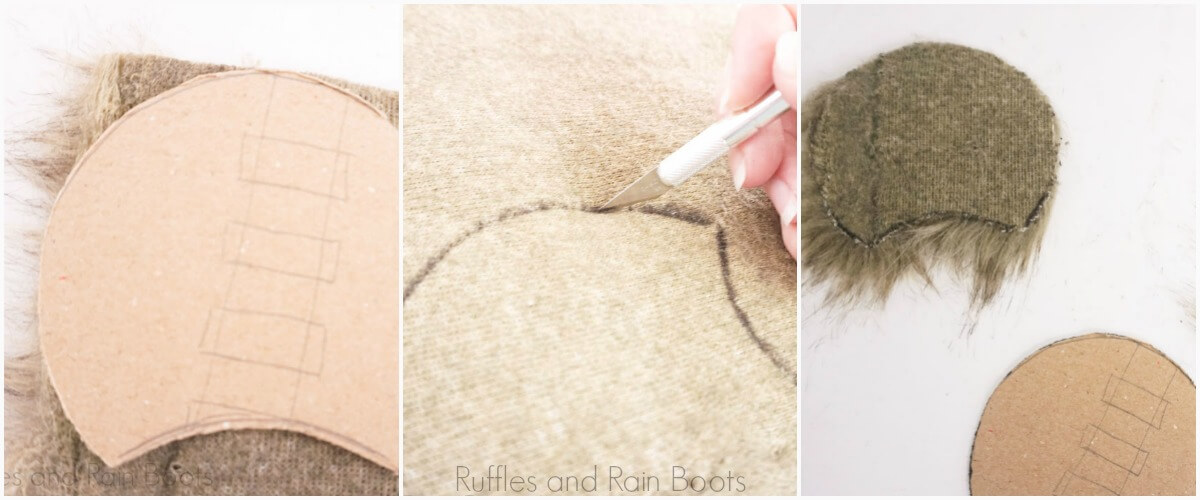 photo tutorial of how to cut faux fur for chewbacca mickey mouse ears