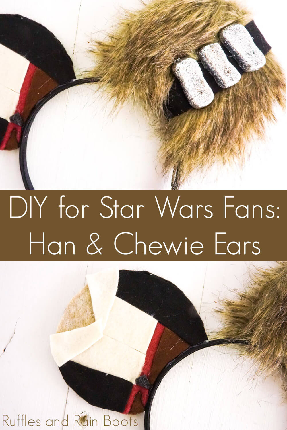 photo collage of diy no-sew star wars mickey ears with text which reads diy for star wars fans han & chewie ears
