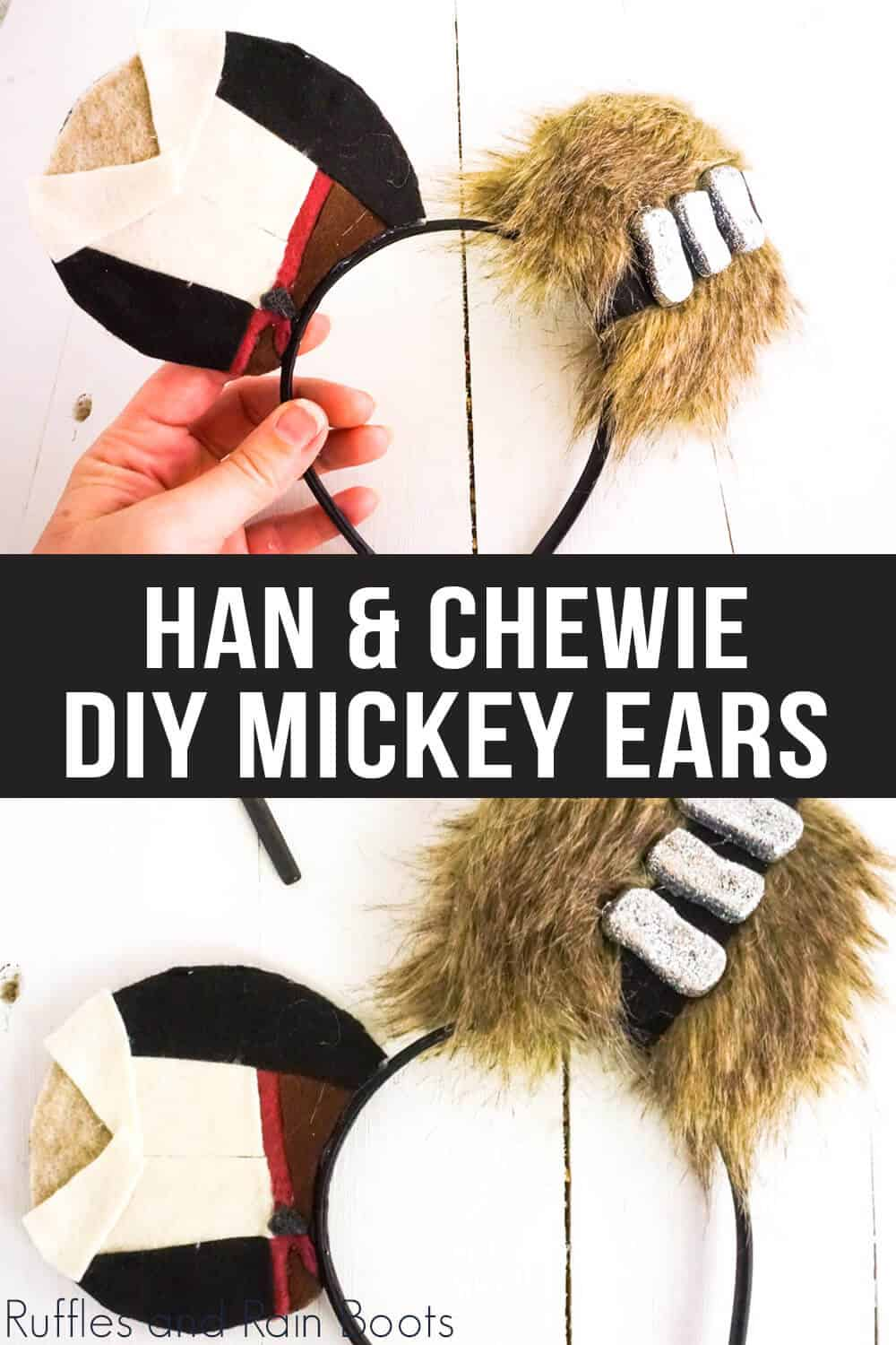 photo collage of han solo mickey mouse ears with text which reads han & chewie diy mickey ears