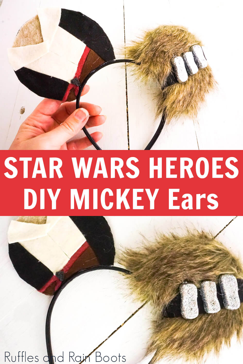 photo collage of star wars mickey ears headband or hat with text which reads star wars heroes diy mickey ears