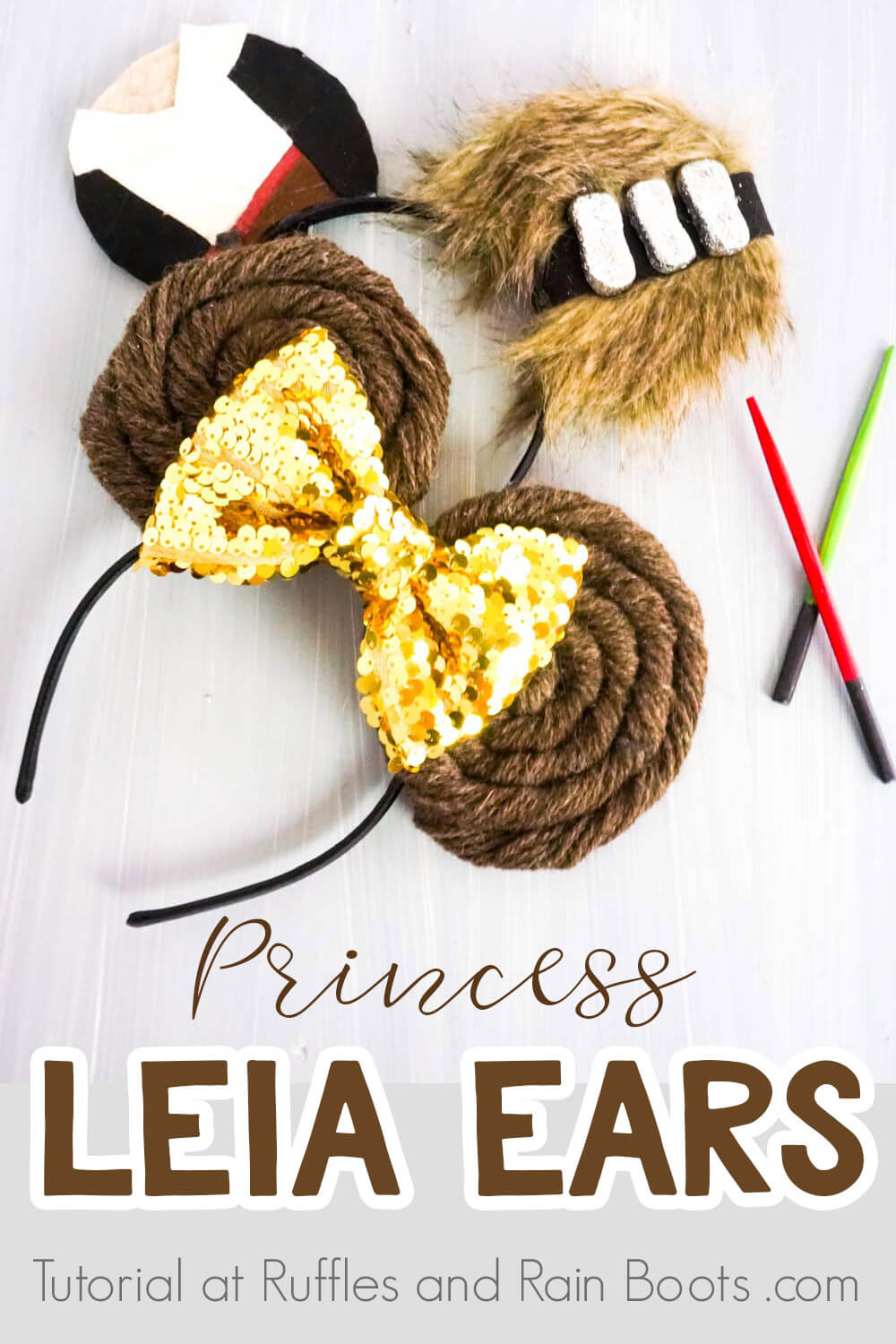 princess leia minnie mouse ears and han solo & chewbacca mickey ears on a white background with text which reads princess leia ears
